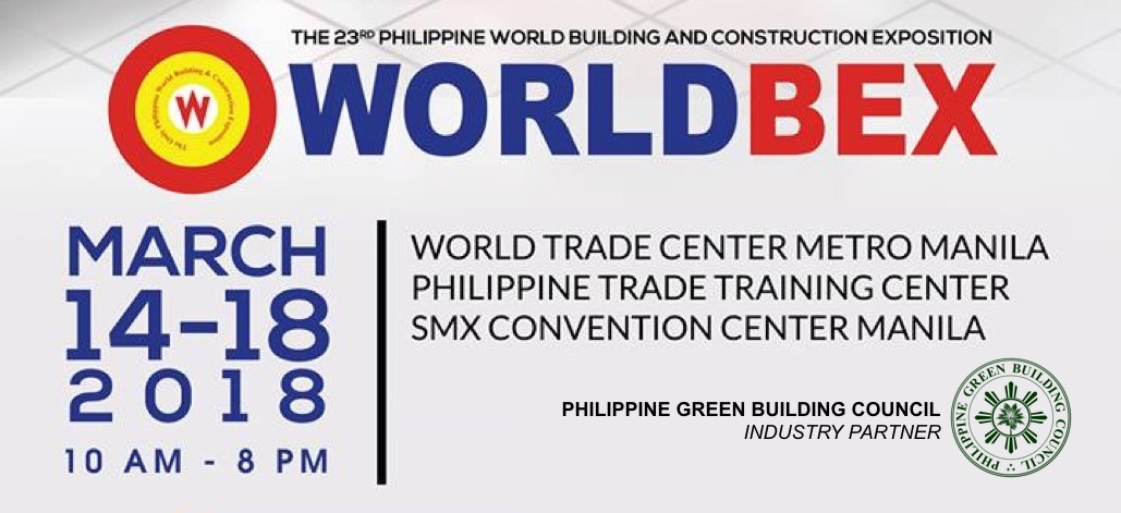 Upcoming events worldbex 2018 philippine green building council the philippine world building and construction exposition or worldbex 2018 organized by worldbex services international is happening on march 14 18 gumiabroncs Image collections