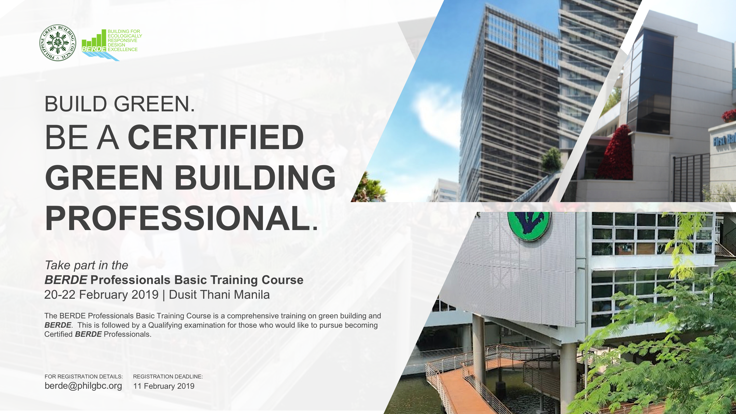 Upcoming Events | BERDE Professionals Basic Training Course